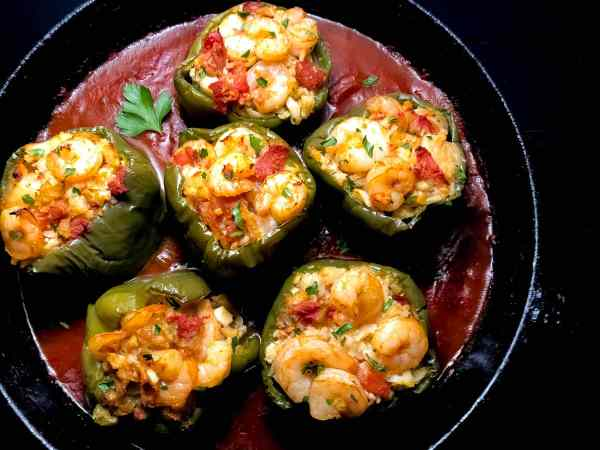 Paleo Creole Shrimp Stuffed Peppers with Cauliflower Rice. | https://asprinklingofcayenne.com