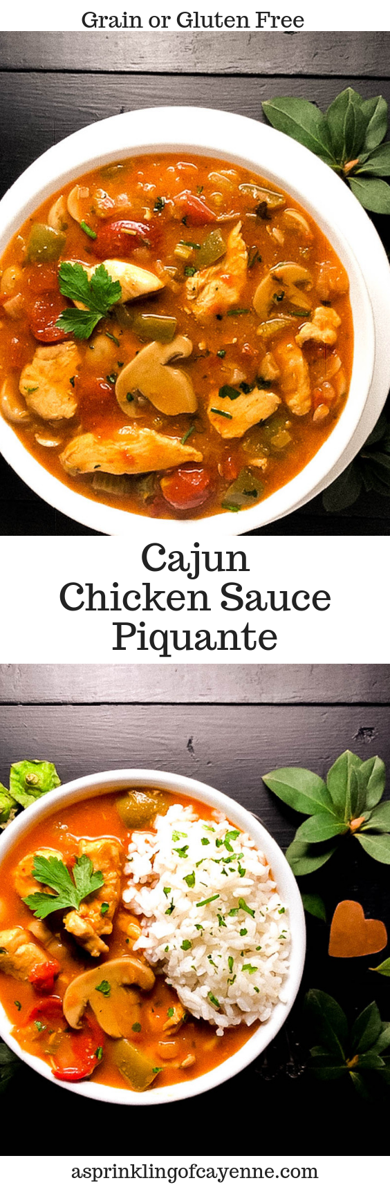 Grain Free or Gluten Free Cajun Chicken Sauce Piquante Pinterest Pin | https://asprinklingofcayenne.com