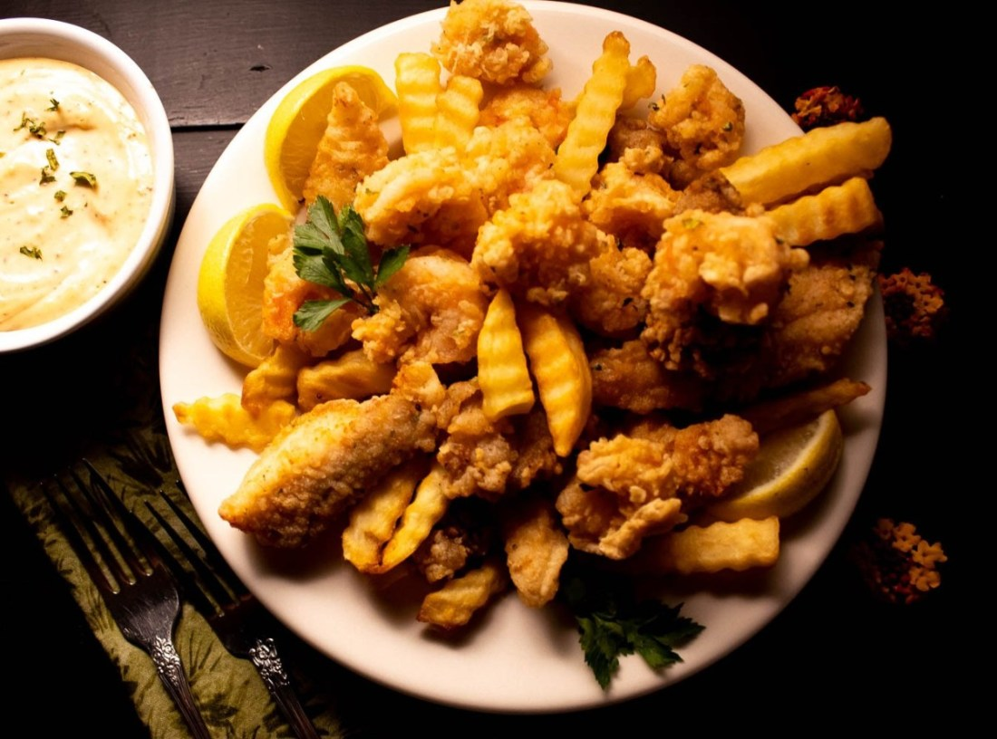 Best Ever Grain Free Cajun Fried Seafood Platter for Seafood Lent Recipes