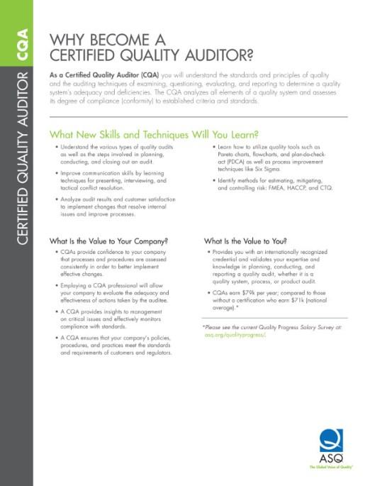 Value of CQA Certification in Aerospace Auditing -