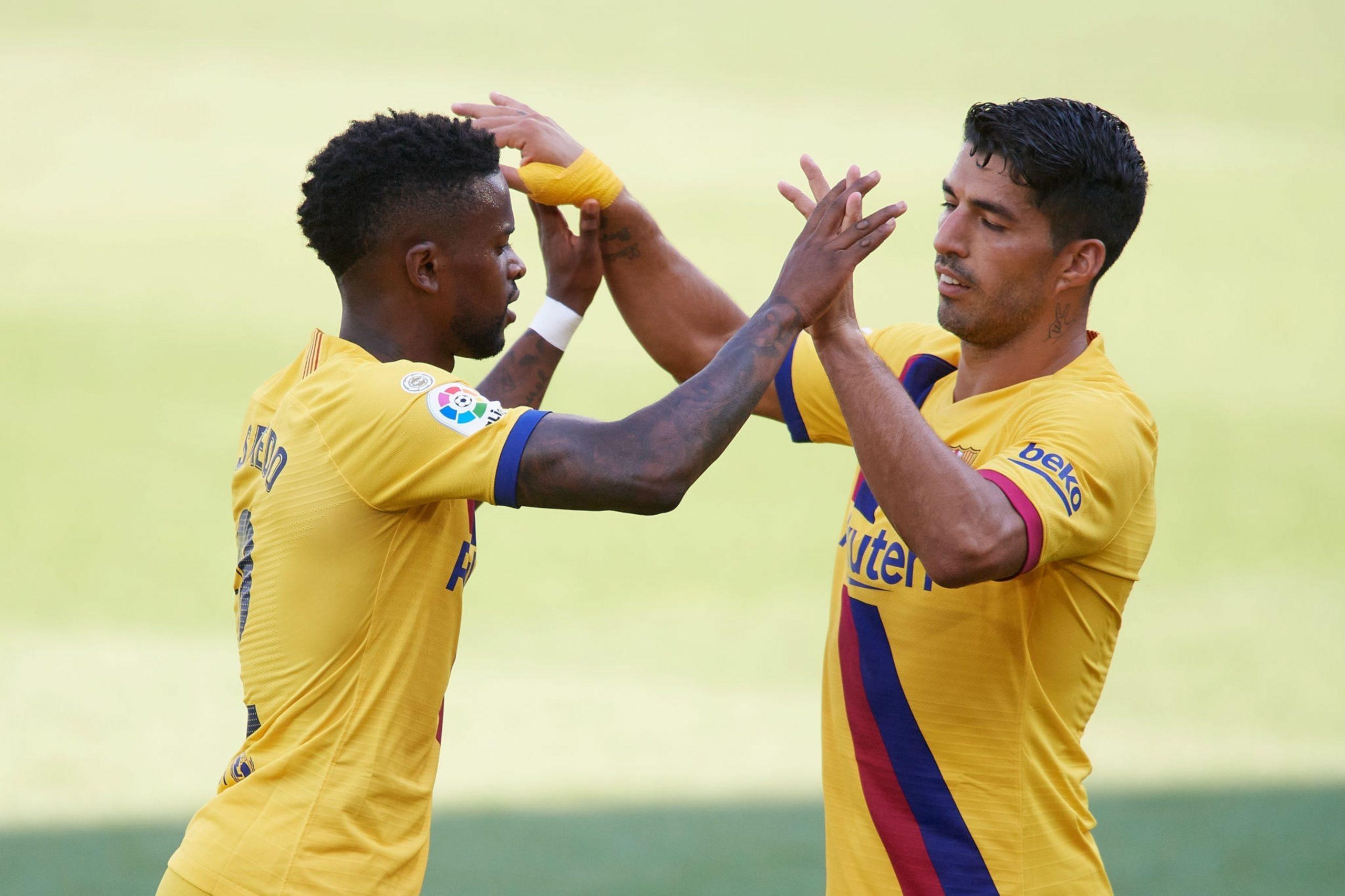 Nelson Semedo et Luis Suarez