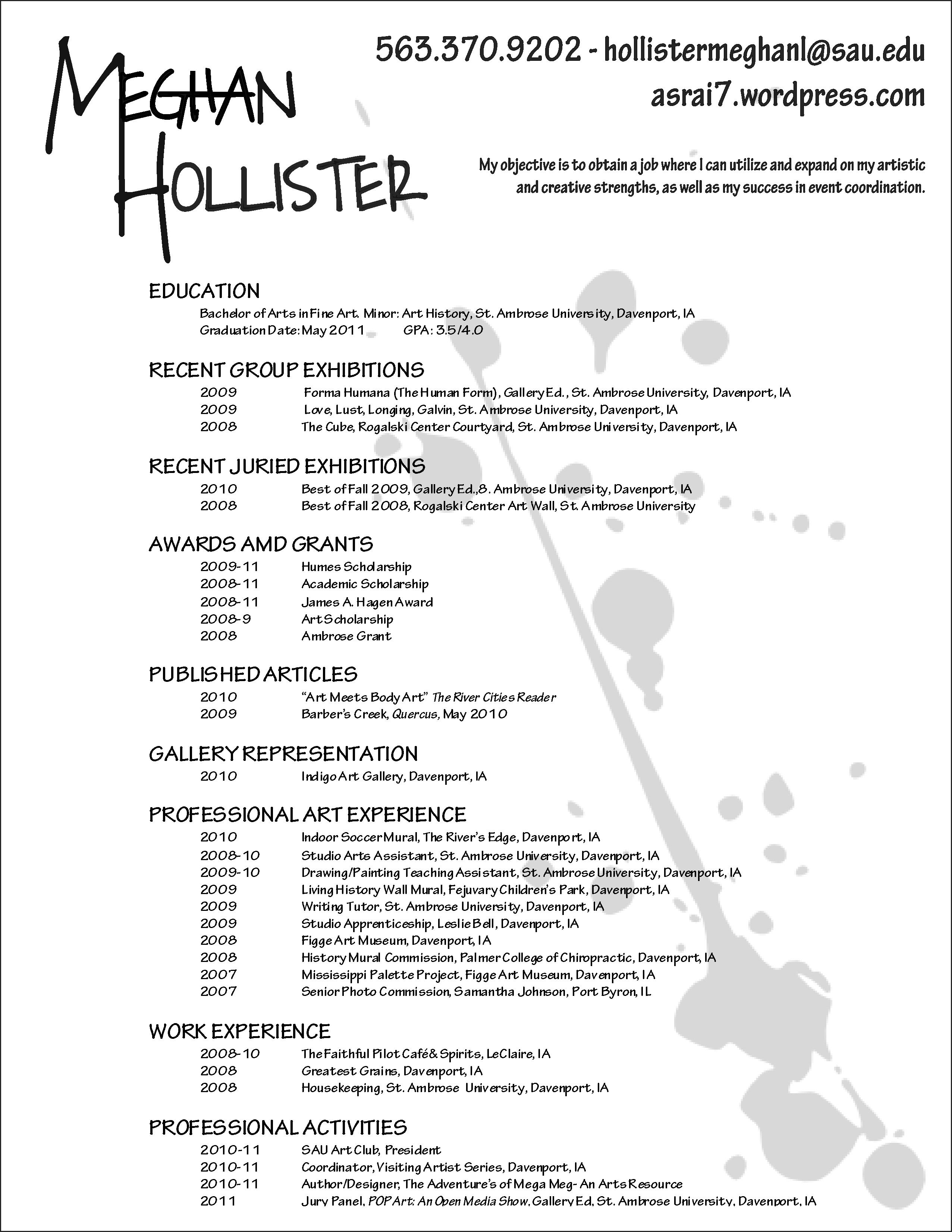 Resume For Artist. makeup artist resumes. resume resources resume ...