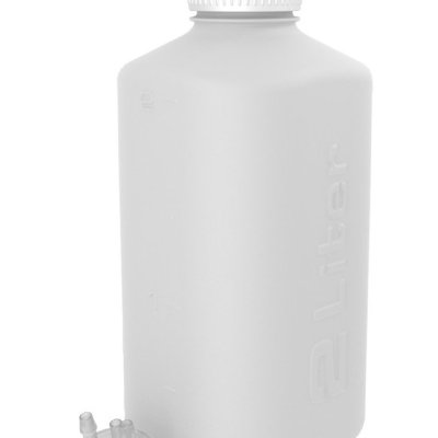 "2L HDPE Heavy Duty Vacuum Bottle, with ¼"" Hose Barb Adapter"