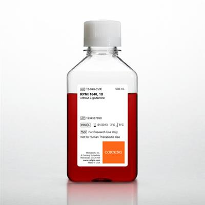 RPMI 1640 1x, w/out L-glutamine, 6 x 500 mL