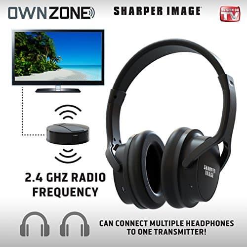 Sharper Image Bluetooth Wireless Earbuds: Sharper Image Own Zone Wireless TV Headphones- Black