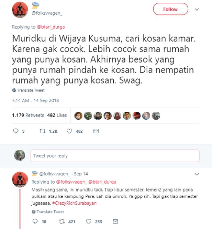 Unggahan @folksvvagen tentang Crazy Rich Surabaya