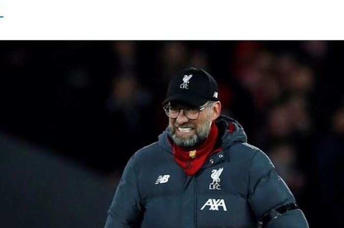Liverpool coach Juergen Klopp's expression after the Premier League match against West Ham United at Anfield Stadium on Monday (2/24/2020).