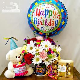 Happy Birthday Combo Flowers Bear Chocolates And Balloon In Long Beach Ca A Beautiful California Florist
