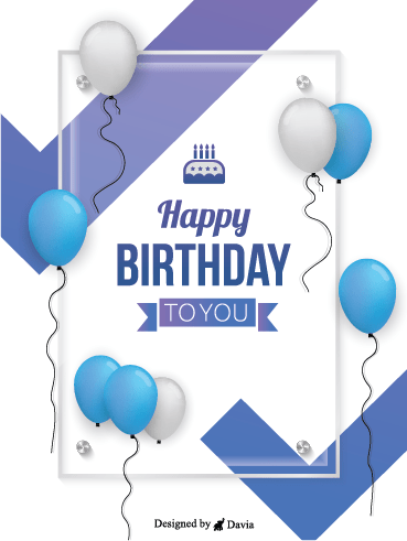 Blue Balloons For My Man Happy Birthday To Him Cards Birthday Greeting Cards By Davia