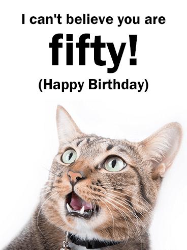Funny Cat Happy 50th Birthday Card Birthday Greeting Cards By Davia