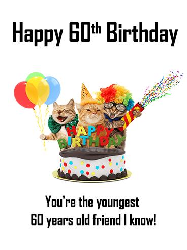 Animal Party Happy 60th Birthday Card Birthday Greeting Cards By Davia