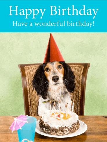 Happy Dog Birthday Card Birthday Greeting Cards By Davia