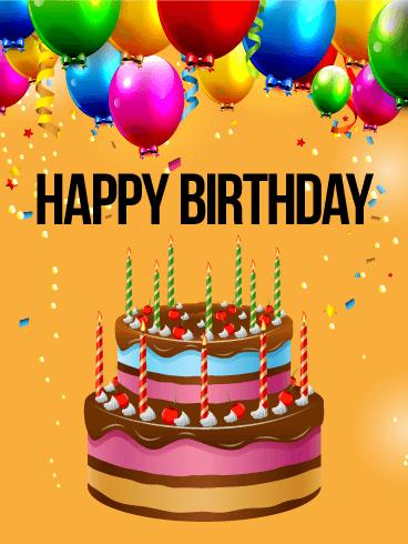 Vivid Birthday Balloon Cake Card Birthday Greeting Cards By Davia