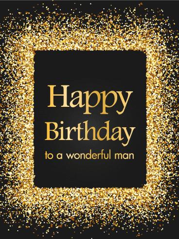Golden Sparkle Happy Birthday Card Birthday Greeting Cards By Davia