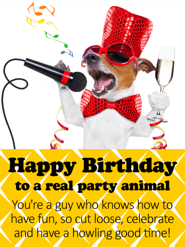 To A Real Party Animal Happy Birthday Card Birthday Greeting Cards By Davia