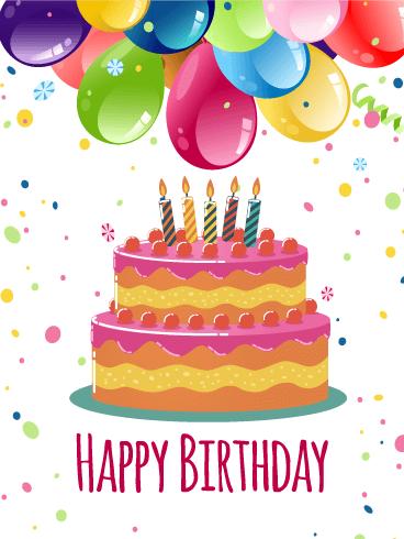 Colorful Birthday Balloon Cake Card Birthday Greeting Cards By Davia