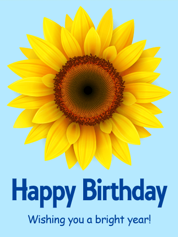Sunflower Happy Birthday Card Birthday Greeting Cards By Davia