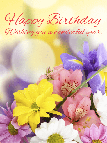 Lovely Gorgeous Flower Happy Birthday Card Birthday Greeting Cards By Davia