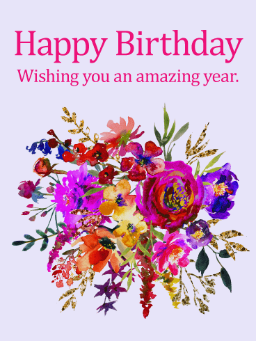 Painted Flower Design Happy Birthday Card Birthday Greeting Cards By Davia