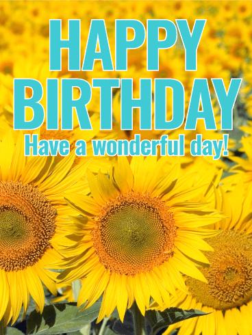 Joyful Sunflower Happy Birthday Card Birthday Greeting Cards By Davia