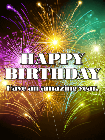 Festive Fireworks Happy Birthday Card Birthday Greeting Cards By Davia
