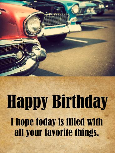 Classic Car Happy Birthday Card Birthday Greeting Cards By Davia