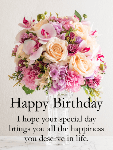 Spectacular Flower Bouquet Happy Birthday Card Birthday Greeting Cards By Davia