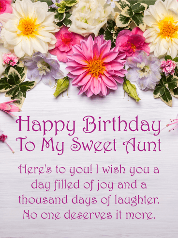 Here S To You Happy Birthday Card For Aunt Birthday Greeting Cards By Davia