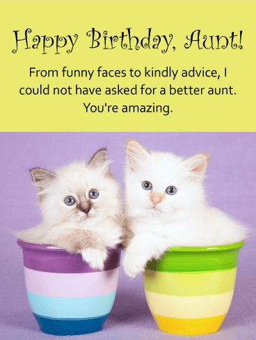 Cute Cats Happy Birthday Card For Aunt Birthday Greeting Cards By Davia