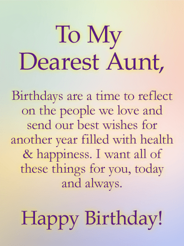 Sending Wishes Happy Birthday Card For Aunt Birthday Greeting Cards By Davia