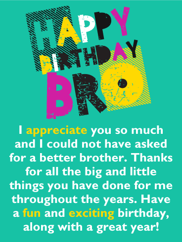I Appreciate You So Much Happy Birthday Card For Brother Birthday Greeting Cards By Davia