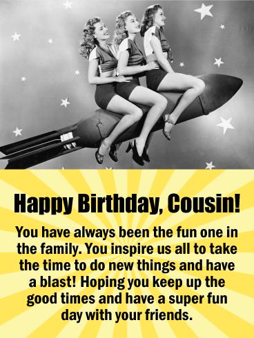 To My Fun Cousin Happy Birthday Card Birthday Greeting Cards By Davia