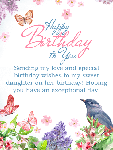 Sending My Love Happy Birthday Card For Daughter Birthday Greeting Cards By Davia
