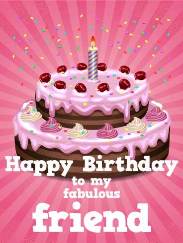 Pink Birthday Cake Card For Friends Birthday Greeting Cards By Davia