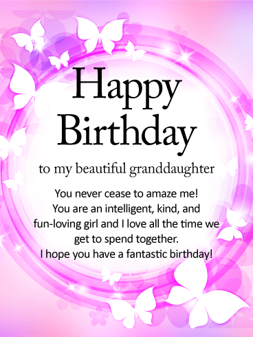 Shining Butterfly Happy Birthday Wishes Card For Granddaughter Birthday Greeting Cards By Davia