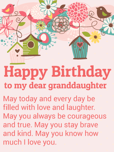 To My Dear Granddaughter Happy Birthday Wishes Card Birthday Greeting Cards By Davia
