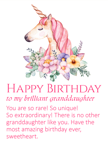 To My Brilliant Granddaughter Unicorn Happy Birthday Wishes Card Birthday Greeting Cards By Davia