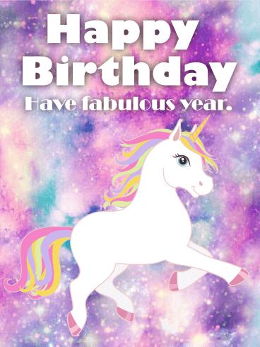Galaxy Unicorn Happy Birthday Card Birthday Greeting Cards By Davia