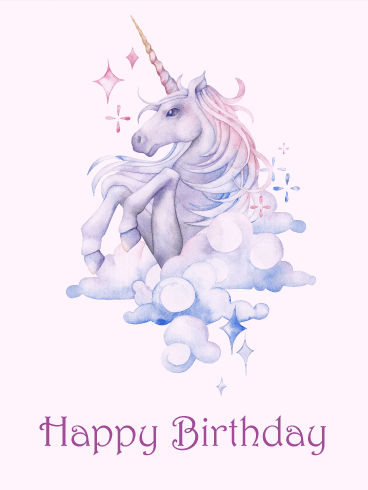 Unicorn Happy Birthday Card Birthday Greeting Cards By Davia