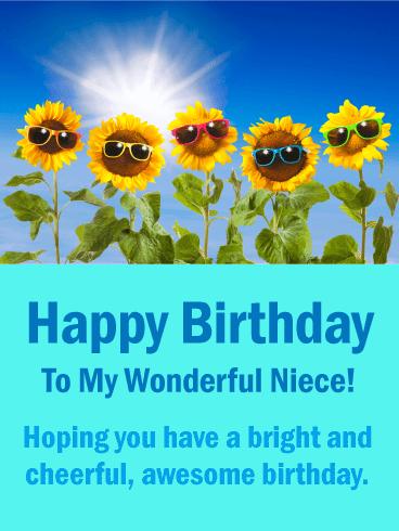 Sunflowers Funny Birthday Card For Niece Birthday Greeting Cards By Davia