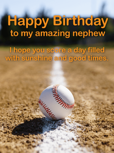 Baseball Happy Birthday Card For Nephew Birthday Greeting Cards By Davia