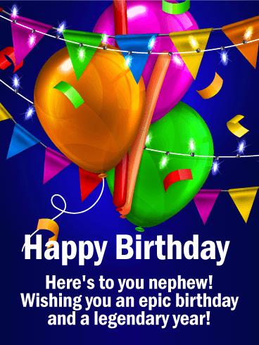 Wishing You An Epic Day Happy Birthday Card For Nephew Birthday Greeting Cards By Davia