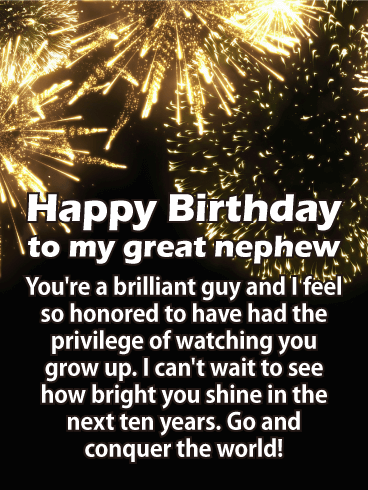 Conquer The World Happy Birthday Card For Nephew Birthday Greeting Cards By Davia