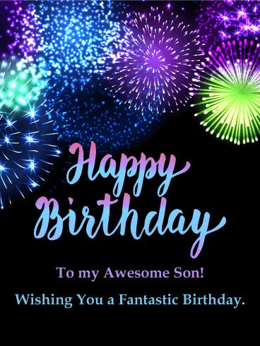 Fantastic Birthday Fireworks Card For Son Birthday Greeting Cards By Davia