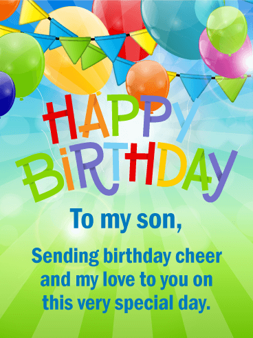 Cheerful Happy Birthday Card For Son Birthday Greeting Cards By Davia