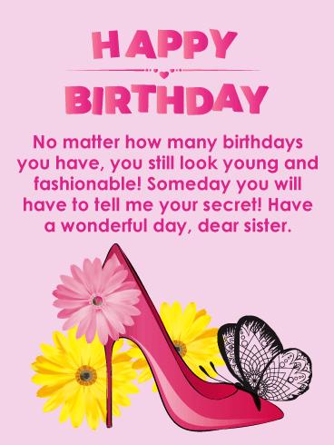 To My Dear Sister Happy Birthday Card Birthday Greeting Cards By Davia