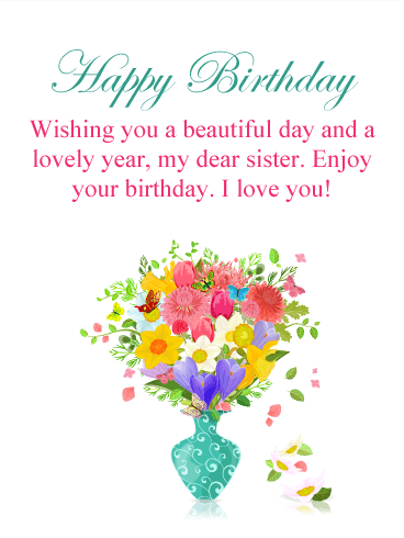 Colorful Flower Happy Birthday Card For Sister Birthday Greeting Cards By Davia