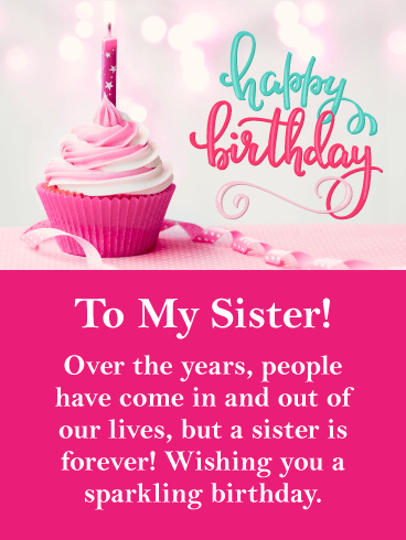 Sparkling Day Happy Birthday Card For Sister Birthday Greeting Cards By Davia