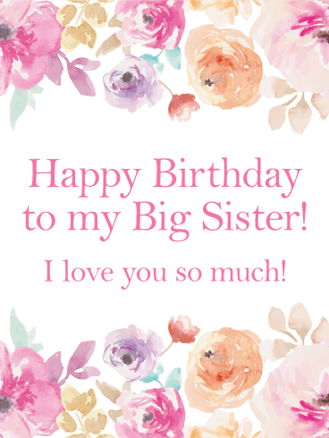 Pink Flower Happy Birthday Card For Sister Birthday Greeting Cards By Davia