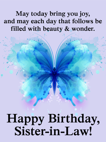Lovely Butterfly Happy Birthday Card For Sister In Law Birthday Greeting Cards By Davia